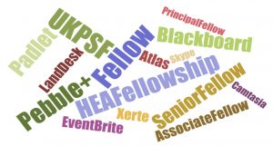 Word Cloud of words, phrases and names of digital tools learned about