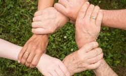 Six people from different ethnic backgrounds holding each others wrists