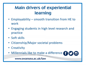 Main drivers of experiential learning are employability, smooth transition from higher education to work, engaging students in high level research and practice, soft skills, citizenship and major social problems, creativity, millenials like to make a difference.