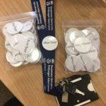 Swansea University Pronoun Badges on a Swansea Uni lanyard