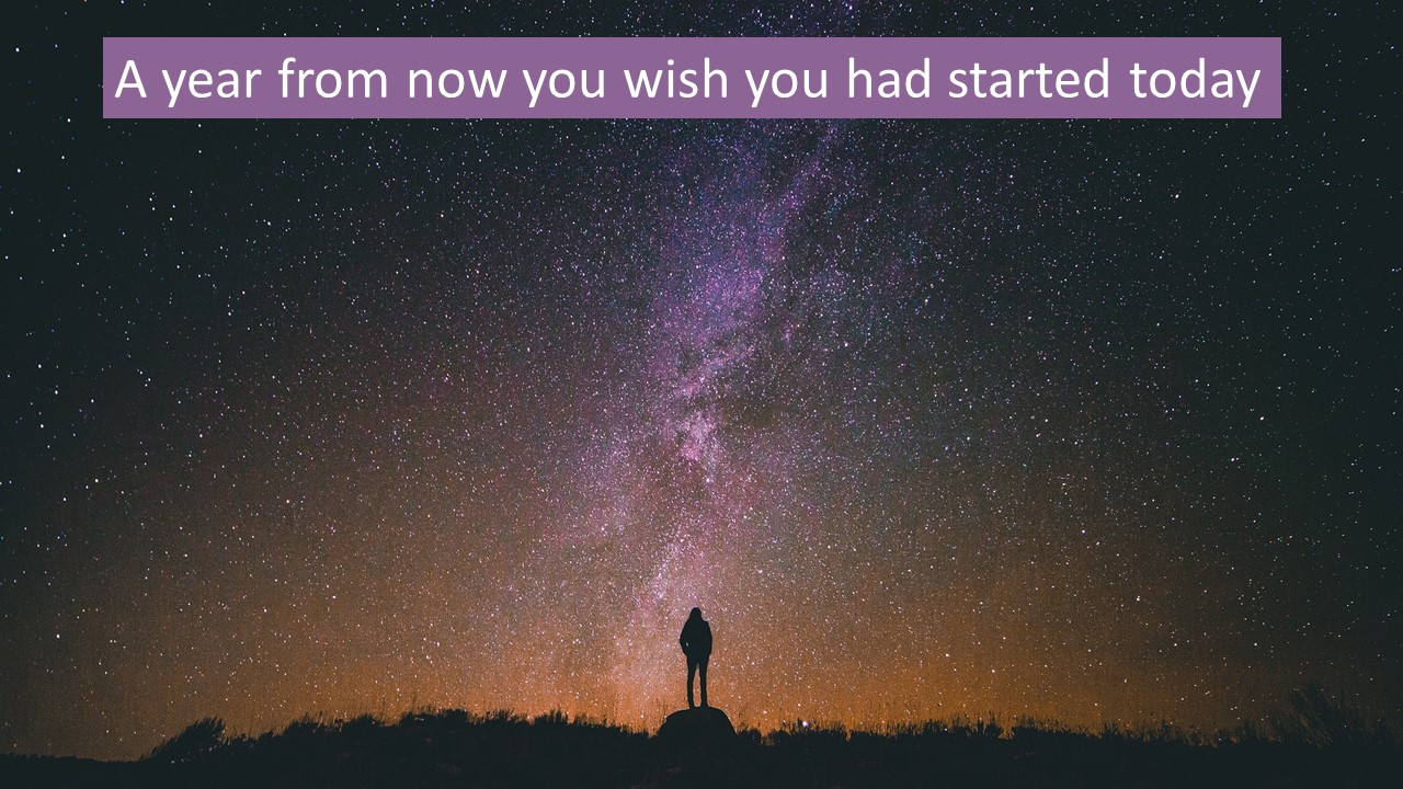 Person standing looking up at the stars with the phrase ' A Year from now you wish you had started today""