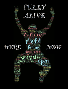 Shape of a person jumping - shape is made up of words describing a character. Focus of phrases are on being 'alive'