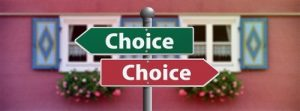 Image of two opposite arrows both saying choice