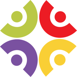 Inclusive Swansea University Logo: 4 different coloured semi-circles surrounding a circle, arranged in a square. Hoping to depict outward-facing unity and also representing round peg in a square hole.