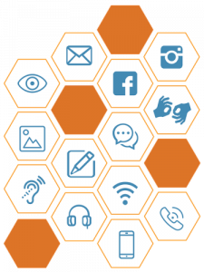 Series of hexagons with various digital icons symbolising communication and access