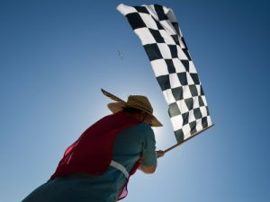 Person waving a checkered flag